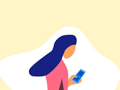 Girl on a phone illustration design