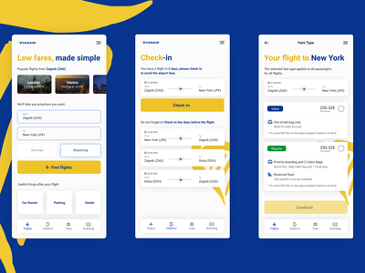 Ryan Air Redesign flight booking flight ux flat minimal app design ui