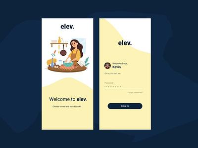 elev. Food App   Splash screen and login flat ux ui illustration