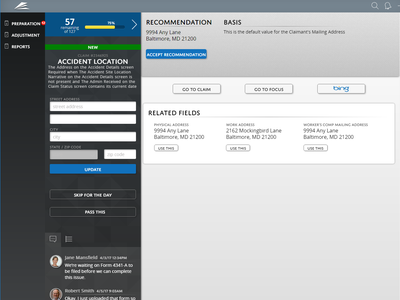 Claims Adjustment Interface