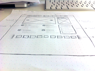 Wireframe for new website