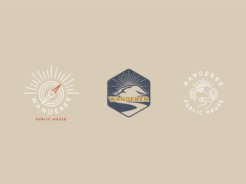 Initial Concepts for Wanderer Chattanooga hospitality branding restaurant design public house chattanooga tennessee mountain wanderer adventure camp logo