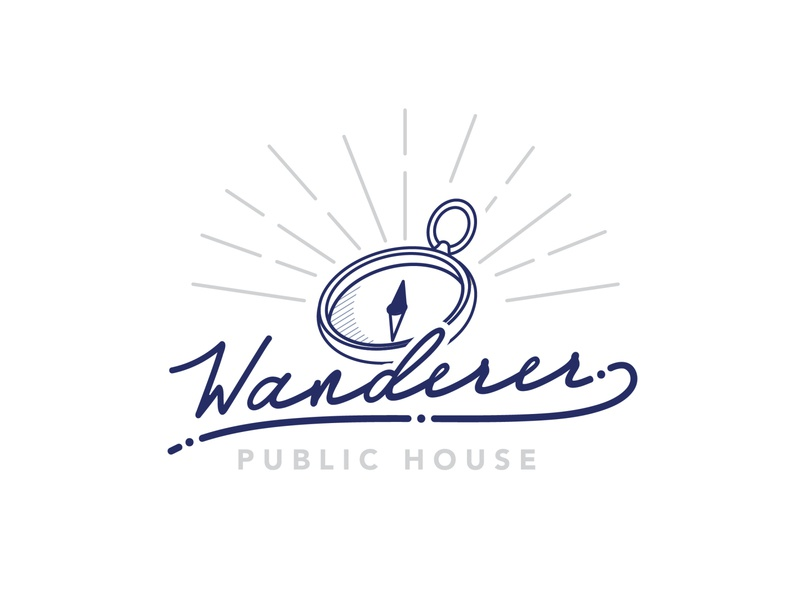 Initial Concept for Wanderer Chattanooga adventure compass script typography handdone type logotype branding restaurant design tn chattanooga