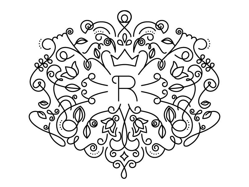 Resplendent Final logo branding line art line r leaves leaf tea leaves tea resplendent
