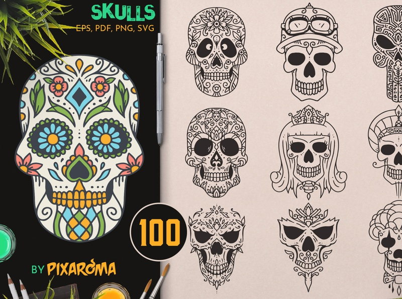 100 Decorative Skulls character mexican decorative dayofthedead death bundle set design illustration illustrator vector halloween sugar skull sugarskull skull