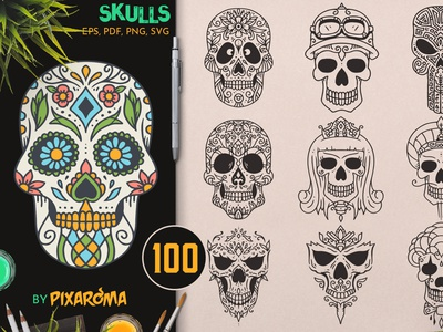 100 Decorative Skulls character mexican decorative dayofthedead death bundle set design illustration illustrator vector halloween sugar skull sugarskull skull