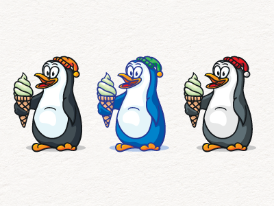 Penguin With Ice Cream Free Download by pixaroma on Dribbble