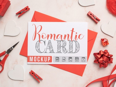 Romantic Card with Envelope Mockup feminine smart object photorealistic presentation invitation mockup jpg psd stationery wedding invitation template romantic mockup romantic greeting card mockup greeting card card mockup valentines valentine card mockup