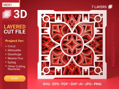 Mandala MD01 3D Layered SVG Cut File 3d layered cut file 3d layered cut file mandala art 3d layered laser cutting glowforge silhouette cricut cut file svg mandala design mandala