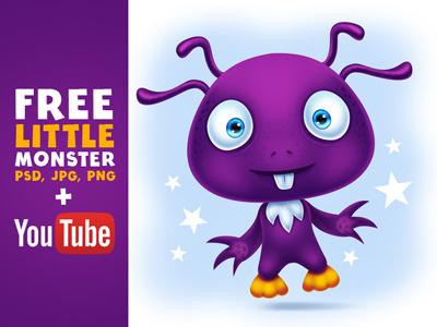 Free Cute Little Monster Digital Painting + Video Tutorial freebie illustration png psd tutorial youtube video digital painting character cartoon creature monster