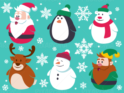 Christmas Cute Flat Characters Set by