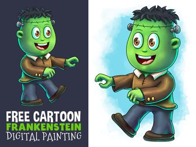 Free Cartoon Little Frankenstein Speedart Video By Pixaroma