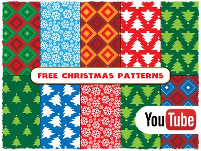 Free Christmas Vector Seamless Patterns + Video Tutorial tree snowflake youtube tutorial illustrator xmas christmas vector pattern seamless free