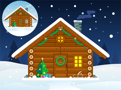 Flat Christmas Cabin Illustration cottage snow landscape day night wooden vector illustration flat xmas christmas cabin