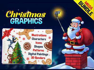Christmas Graphics Mega Bundle 91% Discount character render pattern icon illustration xmas discount mega deal pack bundle christmas