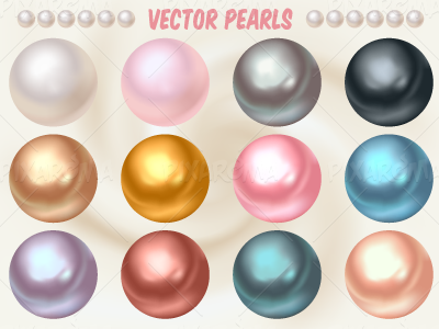 Vector Pearls in Different Colors gradient mesh collection set color ball shiny illustration jewel jewelry pearl vector