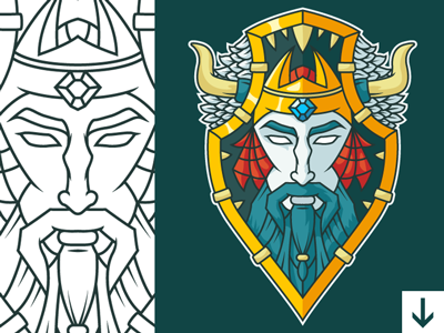 Free Warrior Vector Shield + Video Process item game design illustration concept youtube process freebie vector shield warrior free