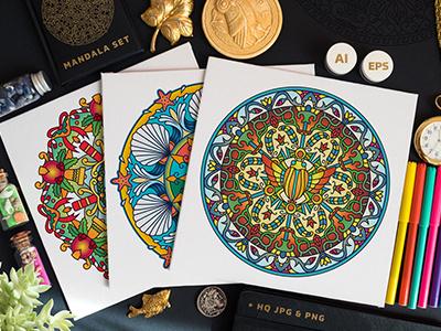 Seasonal And Holiday Mandalas Collection illustration pattern ancient meditation round colorful vector coloring for adults coloring page design set mandala