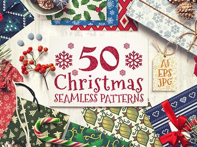 50 Christmas Seamless Vector Patterns