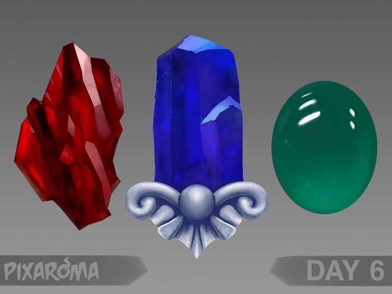 Digital Painting Day 6 - Crystals and Gems by pixaroma on Dribbble