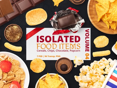 Isolated Food Items Vol.4 psd isolated mockup snack fast food chocolate chips breakfast bowl cereal food