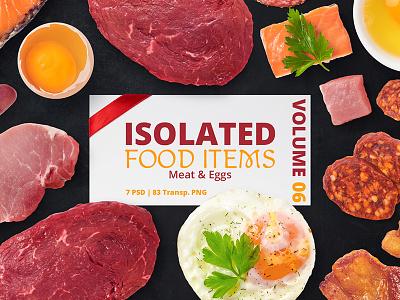 Isolated Food Items Vol.6 psd set isolated egg salami slice sausages pork beef fish mockup food