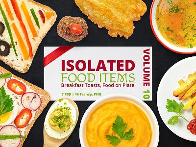 Isolated Food Items Vol.10 set png psd isolated humus brocooli french fries mushroom toast breakfast menu food