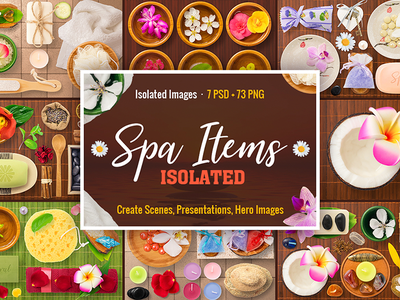 Isolated Spa Items png psd bundle mock up mockup top view beauty scene generator scene creator items spa isolated