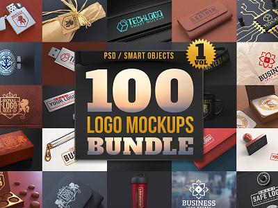 100 Premium Logo Mockups Bundle Vol.1 stamp sign zippo mockups logo design pack deal premium bundle mockup logo