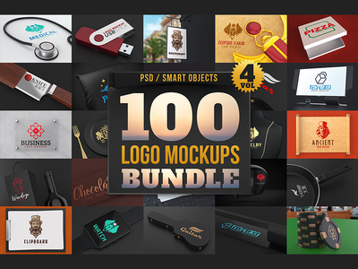 100 Logo Mockups Bundle Vol.4 pizza knife sign mockups logo design pack deal premium bundle mockup logo