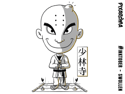 Inktober Daily Challenge Day 17 - Swollen - Tiny Shaolin cute shaolin swollen character illustration challenge cartoon creative drawing photoshop sketching sketch inktober2018 inktober