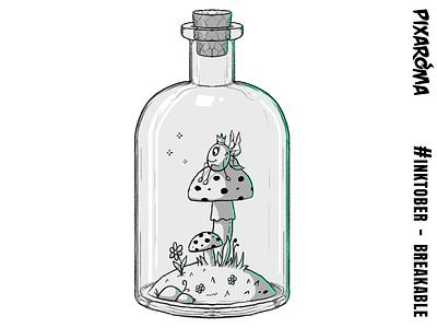 Inktober Daily Challenge Day 20 - Breakable mushroom breakable bottle fantasy challenge cartoon creative drawing photoshop sketching sketch inktober2018 inktober