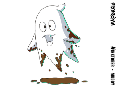 Inktober Daily Challenge Day 23 - Muddy character illustration muddy ghost halloween challenge cartoon creative drawing photoshop sketching sketch inktober2018 inktober