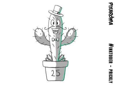 Inktober Daily Challenge Day 25 - Prickly prickly cactus character illustration challenge cartoon creative drawing photoshop sketching sketch inktober2018 inktober