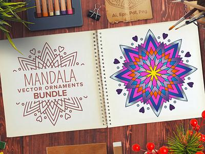 Mandala Vector Ornaments Bundle oriental yoga meditation zen ornament decoration coloring for adults coloring page illustrator illustration design bundle vector mandala