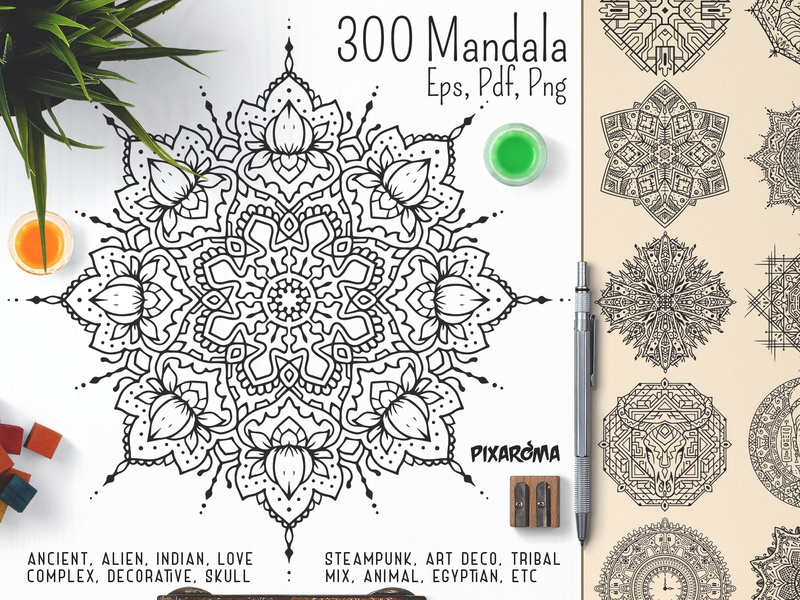 300 Vector Mandala Ornaments coloring for adults coloring page yoga zen meditation mandalas ornament decorative egyptian ancient indian vector art vector mandala design illustration