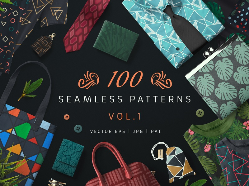 100 Seamless Patterns Vol.1 modern textile fabric line pattern wrapping paper seamless leaves abstract bundle architectural animals tropical surface pattern surface design illustrations illustration background wallpaper seamless pattern pattern
