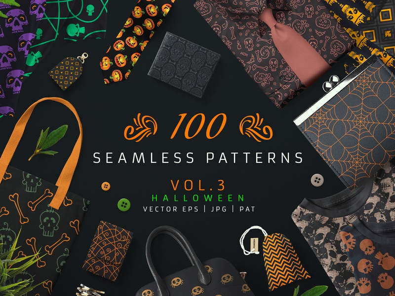 100 Seamless Patterns Vol 3 Halloween bundle pumpkin spooky spider bat skull wrapiing paper textile surface design seamless pattern pattern design seamless pattern halloween
