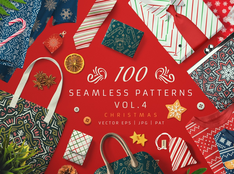 100 Seamless Patterns Vol.4 Christmas surface design sweater norvegian scandinavian design set bundle wallpaper background vector seamless pattern pattern knit knitted knitting winter floral xmas christmas