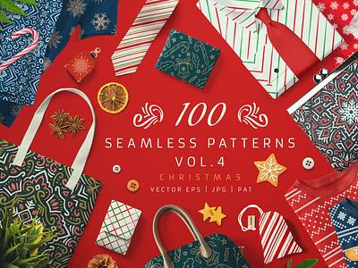 100 Seamless Patterns Vol.4 Christmas surface design sweater norvegian scandinavian design set bundle wallpaper background vector seamless pattern pattern knit knitted knitting winter floral xmas christmas
