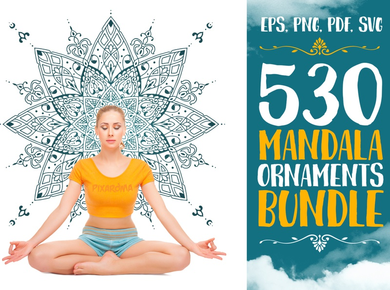 530 Vector Mandala Ornaments Preview vector art egyptian mandalas skull cross butterfly yoga meditation animal set illustration mandala art bundle vector design mandala