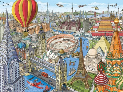 World in Architecture tourism map cityscape city building landscape illustration city illustration buildings book illustration architecture illustration art illustration cartoon