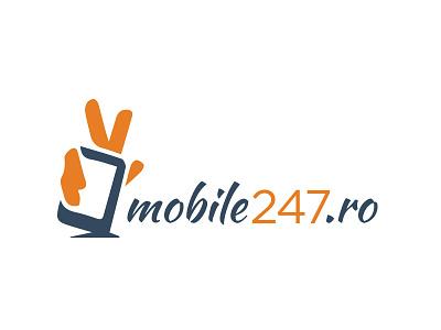Mobile247.ro logo design design logo wordpress news mobile mobile news