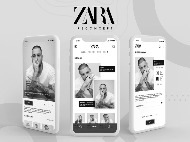 ZARA new concept xd app designer shopping app shopper shop ecommerce app ecommerce uidesign clothing zara app mobile app app design ui ux black ui design ui design white adobe xd