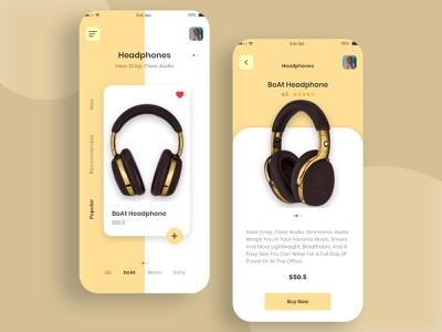 headphones app UI ecommerce app app design white uidesign ui design design sounds headphones app ecommerce shopping sound headphone adobe xd