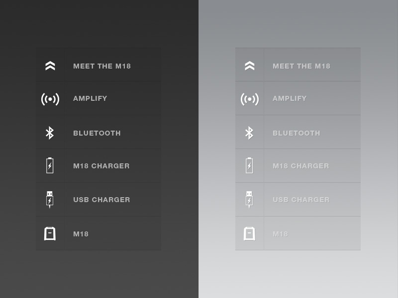 M18 Navigation navigation icons transparent opacity gradients