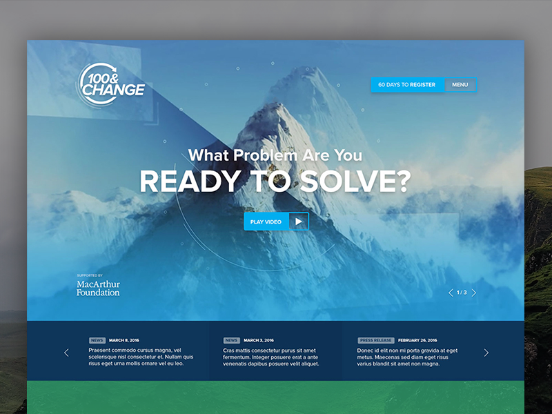 100&Change challenge competition mountains logo design web design macarthurfoundation 100change
