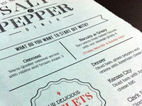 Salt & Pepper Diner Menu