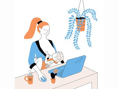 Freelancer mom breastfeeding child breastfeeding breast mom freelancer freelance online character design character vector modern design illustration flat design adobe illustrator