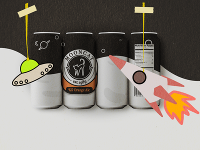 mooncat beer beer packaging practice drawing design illustration logo logodesign typography space graphic design packagedesign